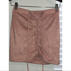 Pink Suede Lace-Up Skirt